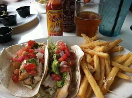 Fish tacos and fries at Island Grill.